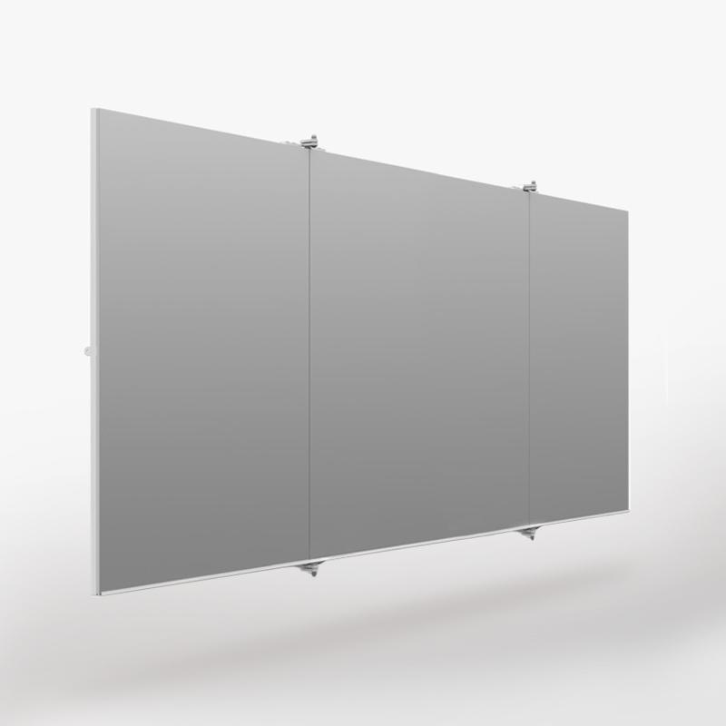 inklapbare spiegelwand 4 meter voor